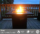 Portable Propane Gas Fire Pit Table - 48,000 BTU Gas Firepits Grill, Outdoor Tabletop Fireplaces w/Strong Bronze Steel Frame, CSA Certification Approval, for Courtyard (Bronze)