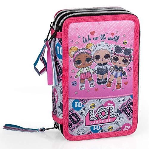 Image 1 - Lol Surprise 92424 Trousse triple rembourrée, 44 accessoires scolaires, 20 cm