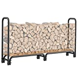 Mr IRONSTONE 8ft Firewood Rack, Outdoor Wood Rack for Firewood Storage Rack with Board Base to Store Logs of Various Size, for Patio Deck Metal Log Holder Stand Tubular Steel Wood Stacker Outdoor Tool