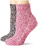 Dr. Scholl's Women's 2 Pack Soothing Spa Low Cut Lavender + Vitamin E Socks with Silicone Treads, Black/Pink, Shoe Size: 4-10
