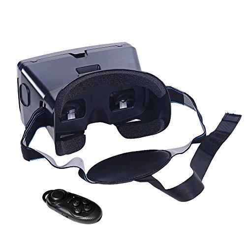 Andoer 多機能 頭部装着 Googleダンボール版 3D VR メガネ  セルフタイマー機能 CSY-01ワイヤレスBluetooth V3.0カメラシャッターゲームパッド付き  3Dグラス  バーチャル/リアリティ ゲーム 映画 DIY 磁気スイッチ ビデオiPhone Samsung / 3.5 ~ 6.0