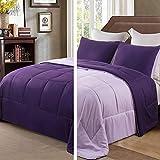 Exclusivo Mezcla Lightweight Reversible 3-Piece Comforter Set for All Seasons, Down Alternative Comforter with 2 Pillow Shams, King Size, Deep Purple/Lilac