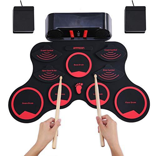 ammoon Batteria Elettronica, Portatile da Tavolo Pieghevole Digitale MIDI Tamburo Set Roll-Up Toccare Sensibile 9 Silicio Drum Pads Altoparlanti Stereo Batteria Ricaricabile 2 Pedali per Bambini
