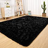 Ucomn Super Soft Indoor Modern Shag Area Rug Bedroom Silky Smooth Rugs Fluffy Anti-Skid Shaggy Area Rug Dining Living Room Kids Carpet (5' x 8', Black)