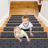 CrystalMX Non-Slip Carpet Stair Treads, Anti Moving Grip and Beauty Rug Tread Safety for Kids Elders and Dogs, 30' X 8' (Medium Grey, Set of 15)