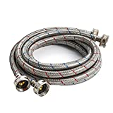 Premium Stainless Steel Washing Machine Hoses , Burst Proof (2 Pack) Red and Blue Striped Water Connection Inlet Supply Lines - UPC Approved (4 FT)