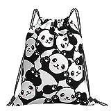 Cute Cartoon Panda Drawstring Backpack Waterproof Lightweight String Bag For Outdoor Yoga Gym Swimming Travel