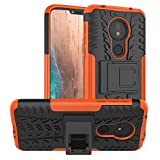 Moto G7 Power Case,Moto G7 Supra Case,Moto G7 Optimo Maxx case,PUSHIMEI with Kickstand Hard PC Back Cover Soft TPU Dual Layer Protection Phone Cover for Motorola Moto G7 Power(Orange Kickstand case)