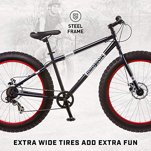 Product Image 2: Mongoose Dolomite Mens Fat Tire Mountain Bike, 26-inch Wheels, 4-Inch Wide Knobby Tires, 7-Speed, Steel Frame, Front and Rear Brakes, Navy Blue