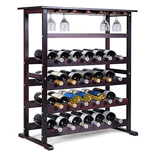 COSTWAY Cantinetta Portabottiglie Scaffale per Vino con Portabicchiere in Legno da 24 Bottiglie, Marrone Scuro, 90,5 x 80 x 41,5 cm