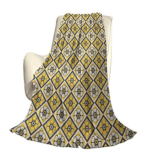Coperta super morbida grigia e gialla per piastrelle decorative come fiori primaverili a forma rettangolare Immagine durevole divano letto da viaggio divano L 80 x L 60 pollici grigio antrac
