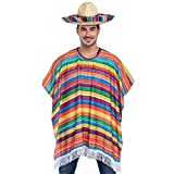 Cinco de Mayo Fiesta Serape Poncho Costume for Adults and Kids Fiesta Event, Mexican Theme Fun and Festive Celebrations, Party Favor (Sombrero NOT Included) Rainbow