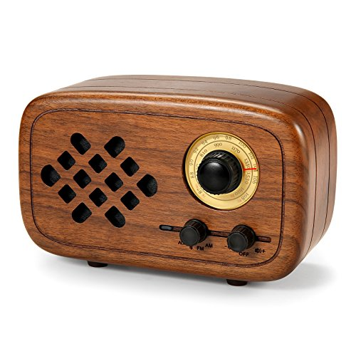 Rerii Retro Bluetooth Speaker, Handmade Walnut Wood Vintage Small Bluetooth Radio FM AM, Portable Wireless Speakers for Home and Office