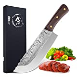 Hand Forged Butcher Knife 7.5 Inch High Carbon Steel Meat and Vegetable Cleaver Knife Full Tang Sharp Chef Knife for Kitchen Camping and BBQ