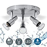 B.K.Licht plafonnier LED 3 spots orientables, plafonnier salle de bain, chrome, lumière blanche chaude, IP44, 230V, 3x5W, GU10
