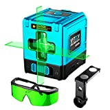 Laser Levels,VYTOOV Manual Rotary Self-Leveling Green Laser Level with Rechargeable Li-ion Battery Laser Tool Horizontal and Vertical Points with Safety Enhancement Glasses