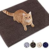 Vivaglory Cat Mat for Litter Box, Super Soft Cat Litter Trapper with Waterproof Back, 31'× 20' Large, Machine Washable, Brown