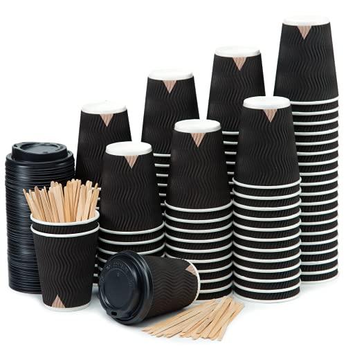 100 Bicchieri Carta 360 ml Doppia Parete Nero Ripple – Tazza con Coperchio di 12 Oncia per Prendere Il caffè con Le Stiratrici di Legno per Il Prendere Il caffè, Il tè, Le Bevande Calde