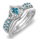 Dazzlingrock Collection 0.33 Carat (ctw) Sterling Silver Round Blue & White Diamond Marquise Shape...