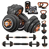 MageeLeigh Adjustable Dumbbells Sets 33/44/66 lbs, 6 in 1 Non-Slip Exercise & Fitness Iron Dumbbell Kettlebells Barbells for Men Women Home Gym (Black, 66lbs)