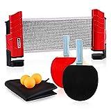 XGEAR Set de Tennis de Table,2 Raquette Ping Pong De Peuplier,3 Balle, 1...
