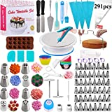 Cake Decorating Supplies Kit - 291 Piece Baking Decorating Tips Set Bakeware Set with Turntable, Spatula, Russian Piping Tips Nozzles, Pastry Bags, Couplers, Scrapers