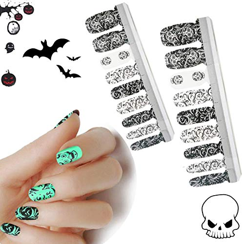 HIGH'S Halloween Design EXTRE Adhesion Nail Wraps Decals Art Transfer Sticker Collection Manicure DIY Fullnail Polish Patch Strips for Wedding, Party, Shopping, Travelling,20pcs (Skulls)