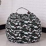 Evoio Bean Bag Stuffed Animal Storage Kid's Toys Organizer & Comfy Beanbag Chair Multipurpose Storage Bag 100% Cotton Premium Canvas (Camouflage Green, 38'')