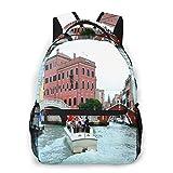DJNGN Venecia, Italia (8) Mochila Multifuncional: Lindas Mochilas Ligeras Resistentes al Agua para Mochila Escolar Mochila Estampada de Moda