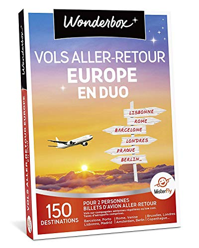 Wonderbox - Coffret cadeau voyage - VOLS ALLER/RETOUR EUROPE EN DUO: 150...