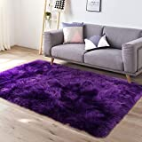 YJ.GWL Super Soft Faux Sheepskin Fur Area Rugs for Bedroom Floor Shaggy Plush Carpet Faux Fur Rug Bedside Rugs, 3 x 5 Feet Rectangle Purple