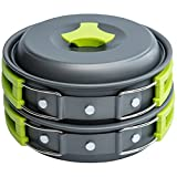 MalloMe Camping Cookware Mess Kit Gear – Camp Accessories Equipment Pots and Pans Set 1L