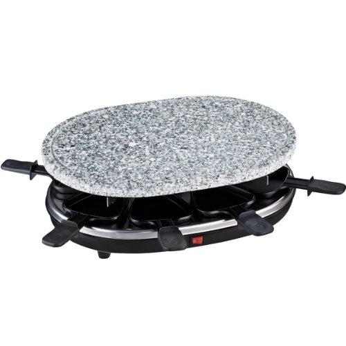 H.Koenig RP85 Raclette-Gerät / 8 Personen / Naturstein-Grillplatte / mit Pfännchen / 900 W / schwarz