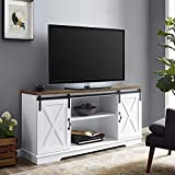 Walker Edison Richmond Modern Farmhouse Sliding Barn Door Stand for TVs up to 65 Inches, Without Fireplace, White