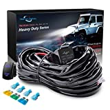 MICTUNING HD 14AWG 300w LED Light Bar Wiring Harness Fuse 40 Amp Relay ON-OFF Rocker Switch Blue(1Lead)