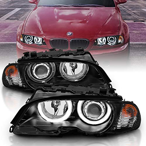 AmeriLite for 99-01 BMW 3 Series E46 (M3) 2 Door Coupe LED Halo Projector Black Headlights w/Corner Lamp Set - Passenger and Driver Set