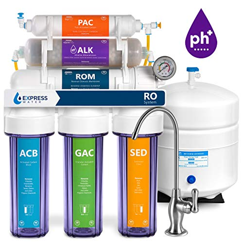 Express Water Reverse Osmosis Alkaline Water Filtration System  10 Stage RO Water Filter with Faucet and Tank  Under Sink Water Filter  with Alkaline Filter for added Essential Minerals  100 GPD, ROALK10DCG, Clear