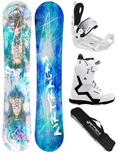 AIRTRACKS Snowboard Set - Board Glam Lady 153 - Fixations Master W - Softboots Strong W QL 38 - SB Bag