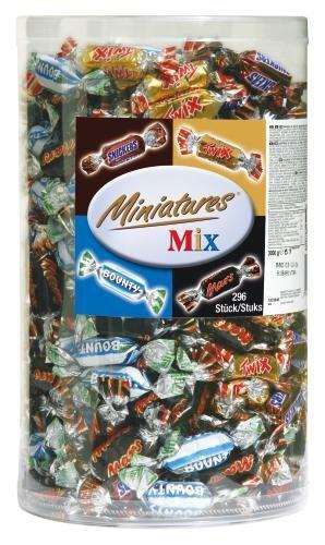 Mars, Snickers, Bounty & Twix Schokoriegel Minitures Mix | Großpackung Schokolade für Halloween | 296 Riegel | 3 kg
