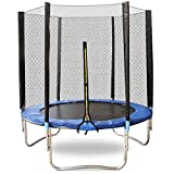 Qdreclod 6FT Trampoline Outdoor Fitness Trampoline with Safety Enclosure Net and Frame Cover Jump Recreational Trampolines (6FT, One Size)