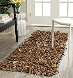 Safavieh Leather Shag Collection LSG511K Hand Woven Brown Leather Area Rug (2'3' x 4')