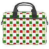 rojo y verde celosía portátil caso lona patrón maletín manga portátil hombro Messenger bolsa caso caso para 13.3-14.5 pulgadas MacBook portátil maletín