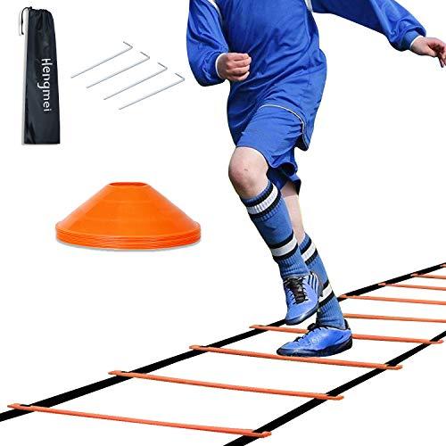 HENGMEI Koordinationsleiter 6m Fussball Trainingsleiter Set Agility Leiter mit Erdnägel Tragetasche und 10 Sportkegeln