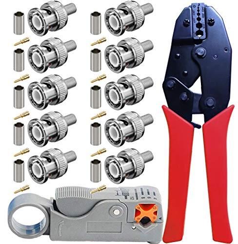 RG59 Set di utensili a crimpare - Kagni BNC/TNC Pinza a crimpare rullata e spelafili a cavo coassiale rotante con 10pcs BNC maschio connettori per RG59