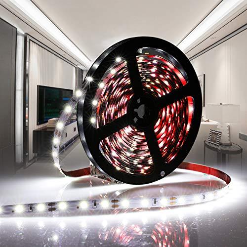 AMBOTHER LED Streifen 5M LED Strip Kaltweiß 6000K 300 LEDs Bänder Lichtband DC12V Flexibel Schneidbar Selbstklebnd Stimmungslicht für Deko Hintergrundbeleuchtung Party Zimmer Spiegel Küche