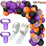 129 Pieces Christmas Balloons Arch Garland Kit, Include Red Green Latex Balloons Confetti Balloons, Balloon Tie Tools, Balloon Strip Tape, Adhesive Dots for Christmas Party (Black, Orange, Purple)