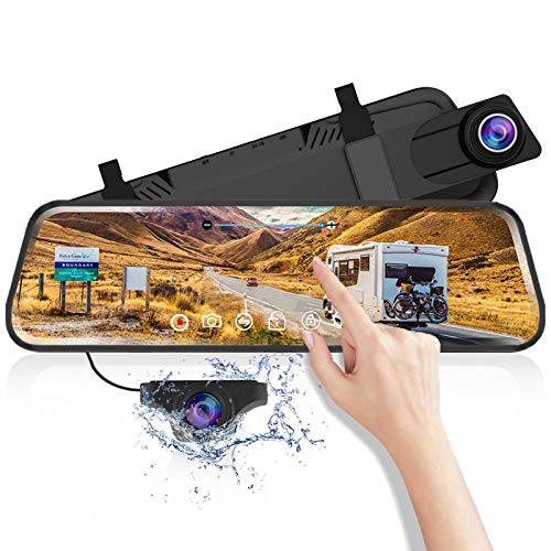 Iseebiz Mirror Dash Cam Backup Cam, 9.66'' Full Touch Screen Dual 1920x1080P Front and Rear with GPS, Parking Assist, ADAS, Night Vision, G-Sensor, Parking Monitor, Motion Detect, Easy Firmware Update