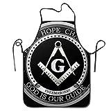 Tablier de cuisine avec logo franc-maçonnique pour la cuisine et la foi maçonnique - Taille réglable - Noir - Confortable - Parfait pour le guide de cuisine