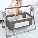 Electric Cradles Baby Bassinet,Baby Bassinet with Remote Control, Folding Portable Bedside Sleeper,3 Timer 5 Swing Modes Arm Reach Co Sleeper Crib for Newborn and Infant