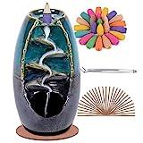 SPACEKEEPER Ceramic Backflow Incense Holder Waterfall Incense Burner, with 120 Backflow Incense Cones + 30 Incense Stick, Aromatherapy Ornament Home Decor, Blue Set